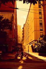 Lighted Alley Way (Georgie_grrl) Tags: philadelphia roadtrip baltimoreinvasion pentaxk1000 rikenon12828mm crossprocessedfilm
