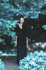 Emmy (Yuri Figuenick) Tags: portrait portraiture woman girl black dress nature darkness dark blue mysterious canon eos 5d markiii