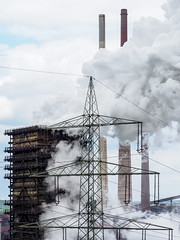 Steam - Coking ThyssenKrupp Steelworks (Germany) (Jens Flachmann) Tags: steam vapor vapour chimney quenchingtower sky clouds coking steelworks germany duisburg industry industrial architecture architectural