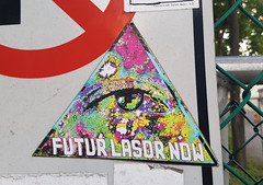 Futur Lasor Now (Exile on Ontario St) Tags: futur lasor now stickerart montreal stickers sticker lasers laser triangle streetart urban street art urbain illuminati collant autocollant eye eyes tie dye psychedelic petite bourgogne little burgundy traffic sign watch future