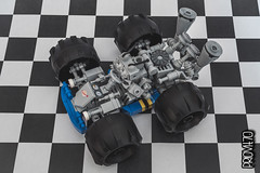 Space kart - view 05 (Priovit70) Tags: lego classicspace spacekart blue wheels mrrobot engine lightbluishgray checkeredflag olympuspenepl7