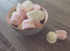 Pink and white fluff (*mirt) Tags: wendesdaymacroorcloseup 7dwf sweets sweet stilllife food fluffy bowl coconut white pink candy marshmallow