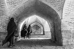 Isfahan, Iran (gstads) Tags: isfahan esfahan iran persia chador bridge sioseh pol siosehpol siosehpolbridge zayandeh zayandehrud pars iranian architecture brick bricks arch arches brickarches geometry pattern curves lines chadors bw blackandwhite noiretblanc zayanderud bnw