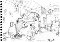 Croctoo au garage, la Celtaquatre (Croctoo) Tags: auto autoancienne autos croctoo croquis croctoofr crayon crocquis garage renault celtaquatre