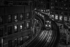 Night trip (karinavera) Tags: travel sonya7r2 chicago view cityscape building architecture city 50mm night trainstation urban street transport train blackandwhite bw cinematic