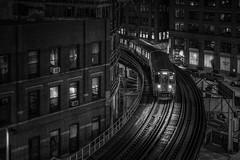Night trip (karinavera) Tags: travel sonya7r2 chicago view cityscape building architecture city 50mm night trainstation urban street transport train blackandwhite bw cinematic