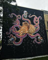 Hipster Octopus by Jason Brammer (wiredforlego) Tags: graffiti mural streetart urbanart aerosolart chicago illinois ord pbr pabst jasonbrammer