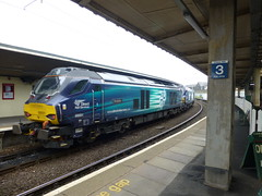 Class 68 locomotives heading to Sellafield No1 & No2 Carnfourth Station (a-dinosaur) Tags: class 68 locomotives heading sellafield railway
