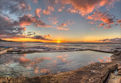In the pink (JustAddVignette) Tags: australia clouds cloudy colours dawn deewhy landscapes newsouthwales northernbeaches ocean panorama reflections rockpool rocks seascape seawater sky sunrise sydney water
