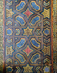 Colorful Door (ep_jhu) Tags: wood sevilla pattern seville repetition gold star fujifilm door blue colorful spain fuji alcazar islamic calligraphy x100f españa red andalucía es
