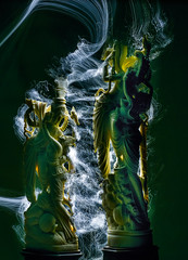 frozen under the spell (pbo31) Tags: california nikon d810 color may spring 2017 boury pbo31 northerncalifornia night dark black spell under idol love india indian ivory sculpture art couple carving lightstream pinpoint green pair motion blur odd livermore eastbay