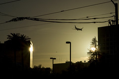 Landing in a Place with Two Suns (aaronrhawkins) Tags: sanjose california plane land sun reflection sundown glass mirror illusion glare contrast dusk evening downtown airplane landing airport visit trip wires lampost aaronhawkins