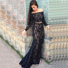 Two Piece Mermaid Strapless Dark Navy Lace Prom Dress with Beading (sherrymary68) Tags: twopiece black navy blue dark lace beaded long beautiful 2k17 prom party women