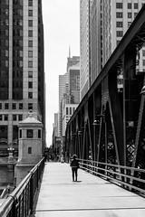I walk alone (dharder9475) Tags: 2017 bw blackandwhite bridge daylight hdr privpublic rivernorth solo walkingalone woman