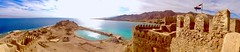 Pharaoh's Island, Sinai Peninsula, Egypt (WorldExplorations) Tags: sunlight sunshine stone fort castle pano panoramic landscape clouds water turquoise blue bluesky mountains hills shoreline shore coastline coast beach reef lagoon bay worldheritage unesco unescoworldheritagesite ancient history historic historicsite saladin citadel citadelofsaladin aqaba gulf gulfofaqaba sea redsea desert middleeast egypt peninsula sinaipeninsula sinai island pharaoh pharaohsisland