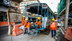 After a long day (Phg Voyager) Tags: bangkok thailand leica mp 24mm phgvoyager outdoor daylight fun smile truck workers color street car road construction civil works public panels asia city cityscape thai chinatown oldcity underconstruction photography