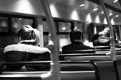 IIn the night bus 1 (Thibaut Ghils) Tags: london londres canon canon7d 7d 50mm sigma citylife monochrome blackandwhite street uk