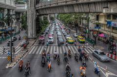 Waiting (21mapple) Tags: bangkok traffic bikes motorbikes cars motocycles road concrete thailand