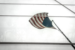The Flag Still Stands For Freedom (Wade Brooks) Tags: 2014 newyorkcity september memorialday flag reflection canon t3i