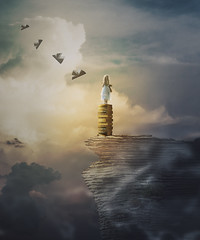 Let your imagination run wild (RoCafe Off for a while) Tags: photomanipulation photoshop ps conceptual surrealism fantasy books girl sky clouds