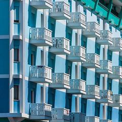 DSC_7803-4 (deborahb0cch1) Tags: architecture building facade façade balcony balconies blue stripes lines shadesofblue
