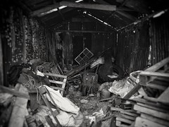 2017-06-05_03-58-30 (GLKPhotos) Tags: northernireland ulster abandoned dark unused rubbish old damp rural monochrome blackandwhite junk lensblur countryantrim countryside uncropped
