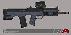 "Quicksilver Industries: ""Beluga"" Assault Rifle (Wouter Kroon) Tags: futuristic bullpup assault rifle marksman designated dmr weapon firearm fictional industries quicksilver shockwave pimpmygun gun my pimp pmg"
