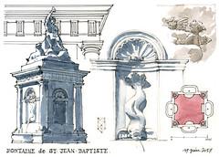 Liège, fontaine de St-Jean-Baptiste (gerard michel) Tags: belgium liège fontaine sketch croquis architecture aquarelle watercolour
