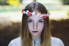 Mellifluous (Enrico Cavallarin) Tags: girl girlportrait freckles portait portraiture flowerscrown blonde redhead blueeyes sweet fairytale magic bokeh ritratto film elf