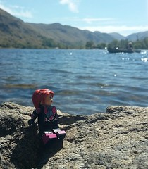Relaxing by the lake. (Catanas) Tags: lego photography lake district hills minifigure speedcat