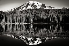 Glasslike Reflections at Reflection Lakes (Black & White, Mount Rainier National Park) (thor_mark ) Tags: 14158feet 4315meters anvilrock blackwhite blueskies capturenx2edited cascaderange cathedralrocks colorefexpro columbiacrest day6 evergreentrees evergreens forest gibraltarrock glacier glaciers glassreflections hillside hillsideoftrees lake lakereflectionsonwater lakeshoreline lookingnnw mountrainier mountrainierarea mountrainiermassif mountrainiernationalpark mountains mountainsindistance mountainsoffindistance nature nikond800e nisquallyglacier pacificranges pointsuccess portfolio project365 reflectionlakes reflections reflectionsonlake reflectionsonwater shoreline silverefexpro2 snowcapped southwashingtoncascades stratovolcano trees triptomountrainierandcolumbiarivergorge waterreflections waterreflectionsofmountains wa unitedstates