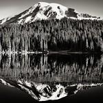 Glasslike Reflections at Reflection Lakes (Black & White, Mount Rainier National Park) thumbnail