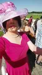 May 2017 - video at horse racing Iffezheim (cilii_77) Tags: cd tv crossdresser transvestite transgender outdoor elegant stockings hat makeup dress lipstick high heels public