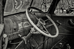 Up For a Drive? (Scott Sanford) Tags: 6d abandoned automibile automobile bigthicket canon ef2470f28l eos summer texas topazlabs vintage weathered antique beautiful historic blackandwhite bw monochrome rust rusty glass easttexas art artistic