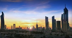 Kuwait City (khalid almasoud) Tags: leica dlux5 sun sunset downtown kuwait sky clouds towers الكويت تصوير خالد المسعود العاصمة الغروب flickr estrellas photographyrocks