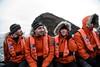 Zodiac Ride (Scott Ableman) Tags: shetlandislands baileyhead chinstrappenguins chinstrappenguin chinstrap penguin nationalgeographicexpeditions lindbladexpeditions nationalgeographicorion antarctica parkas orange orangeparka