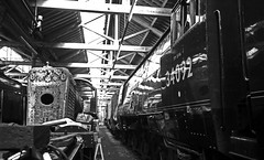 City of Wells in shed (wontolla1 (Septuagenarian)) Tags: bury bolton street shed railway rail train loco eastlancsrailway east lancs lancashire wheel wheels cityofwells steam mono black white