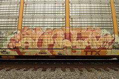 ANTI (TheGraffitiHunters) Tags: graffiti graff spray paint street art colorful freight train tracks benching benched racks autoracks anti