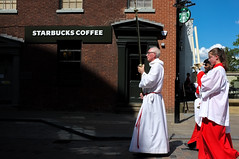 untitled (sandbag the great) Tags: sheffield south yorkshire street colour photography social documentary people culture fuji x100 camera composition religion catholic bishop procession cross christianity starbucks coffee juxtaposition
