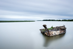 Abandoned (The Black Fury) Tags: river sea landscape spring seascape ocean clouds sky nature color nd1000 light lighting water canon700d sigma1770mmf224dcmacrooshsmcontemporary longexposure poselongue fineart normandie boat wreck old estuary