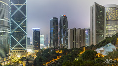 Garden Variety (Tim van Zundert) Tags: hdr highdynamicrange panorama hongkongpark central hongkong hongkongisland night evening longexposure city cityscape skyline lippo bankofchina tower skyscraper architecture china sony a7r voigtlander 21mm ultron urban