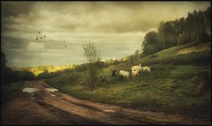 Rural landscape. (odinvadim) Tags: mytravelgram paintfx textured textures iphone editmaster travel iphoneography sunset evening iphoneonly church painterly artist snapseed landscape photofx specialist iphoneart graphic painterlymobileart