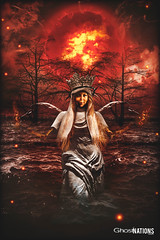Blood Moon Rising Calling The Huntress (Ghost Of Nations Photography And Digital Art) Tags: ghostofnationsphotography ghostofnations gloomy gothic liminal disquiet dark decay decaying death disturbing darkness bloodmoon digitalart digitalpainting digitalartwork