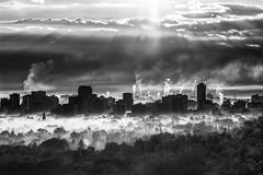 Fog (JohnK ARW) Tags: sonynex7 sigmaapo70200mmf28exdgoshsm johnklander bw hamilton fog cityscape smoke water trees buildings lakeontario sunrise