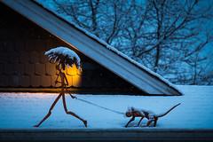 Walking the rat (iPhilFlash) Tags: sculpture juvelisto vancouver pretty nature art trees britishcolumbia sky outdoors steveston canada spotlight outdoor richmond snow ca