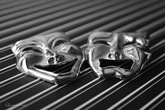 Laugh Alittle, Cry Alittle.... (Little Hand Images) Tags: jewelry pin silver laugh cry macro blackandwhite shiny stripes