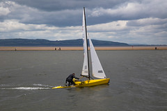 GBR 158 Sails into view (cathbooton) Tags: sailing race wirral lake canon yellow gbr158 sky clouds water sand path walk walking hills westkirby sails canoneos canon6d canonusers canonphotography ef24105mm
