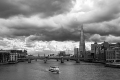 London ... (Ged Slaughter Photography) Tags: london thames water river boat shard southwark southwarkbridge tower towerbridge gedslaughter bw landscape city cityscape cloud cloudy weather waterfront