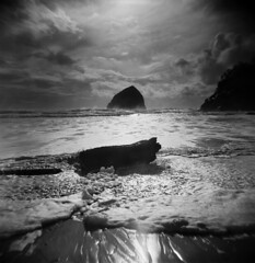 (Zeb Andrews) Tags: holga holga120fn bw monochrome haystackrock capekiwanda oregon oregoncoast blackwhite pacificnorthwest pacificocean westcoast ilfordfp4 expiredfilm landscape ocean