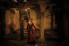 True calling (sophie_merlo) Tags: redhead fantasy church urbex gothic legend sword arthur arthurian light beamoflight ray
